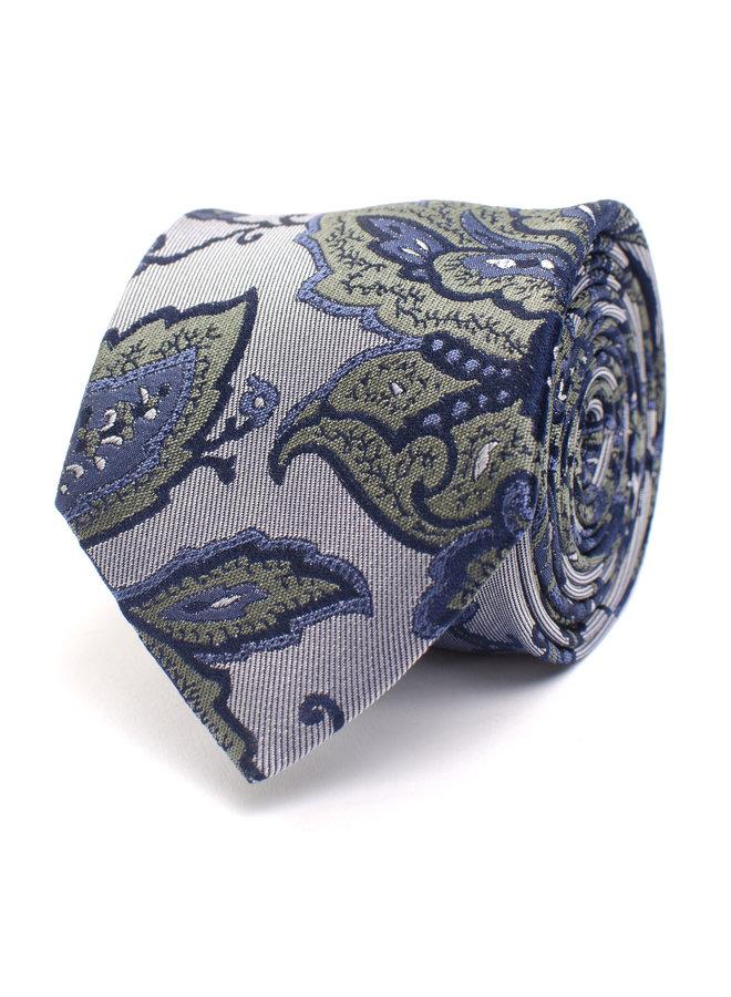 Tresanti Stropdas Silk Paisley in Green/Blue
