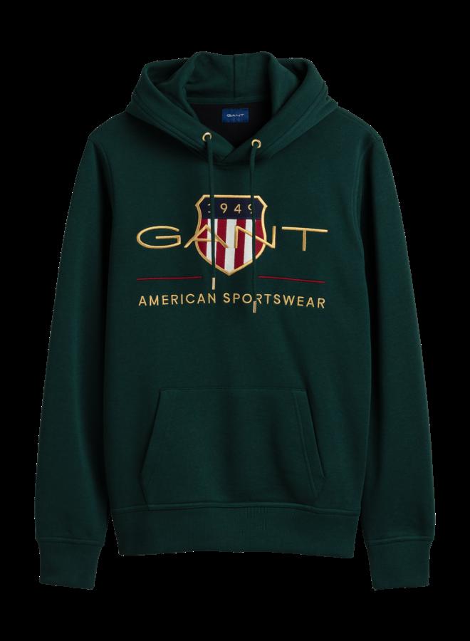 Gant Archive Shield Hoodie  Tartan Green