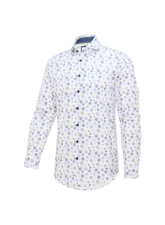 Blue Industry Overhemd Print White/Blue