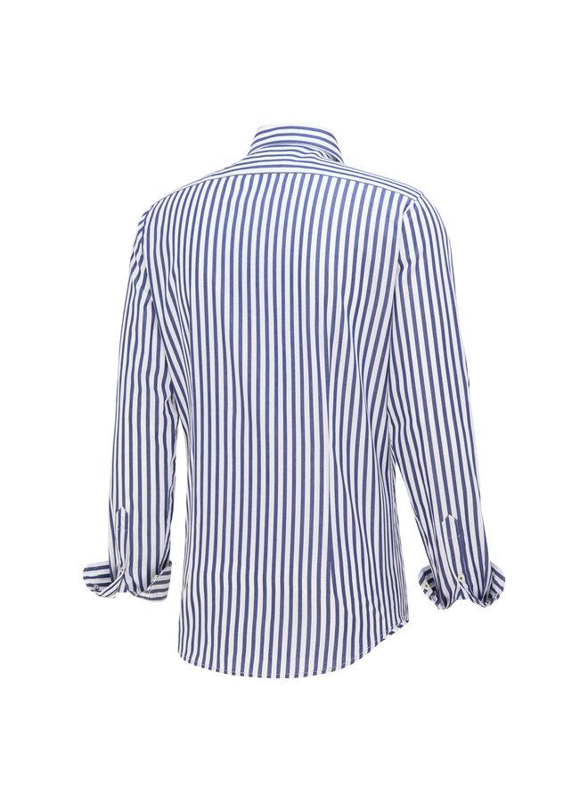 Blue Industry Overhemd Stripe Blue/White