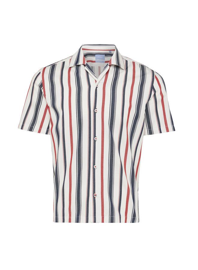 Tresanti Shirt  Stripe Multi Red/Navy Short Sleeve