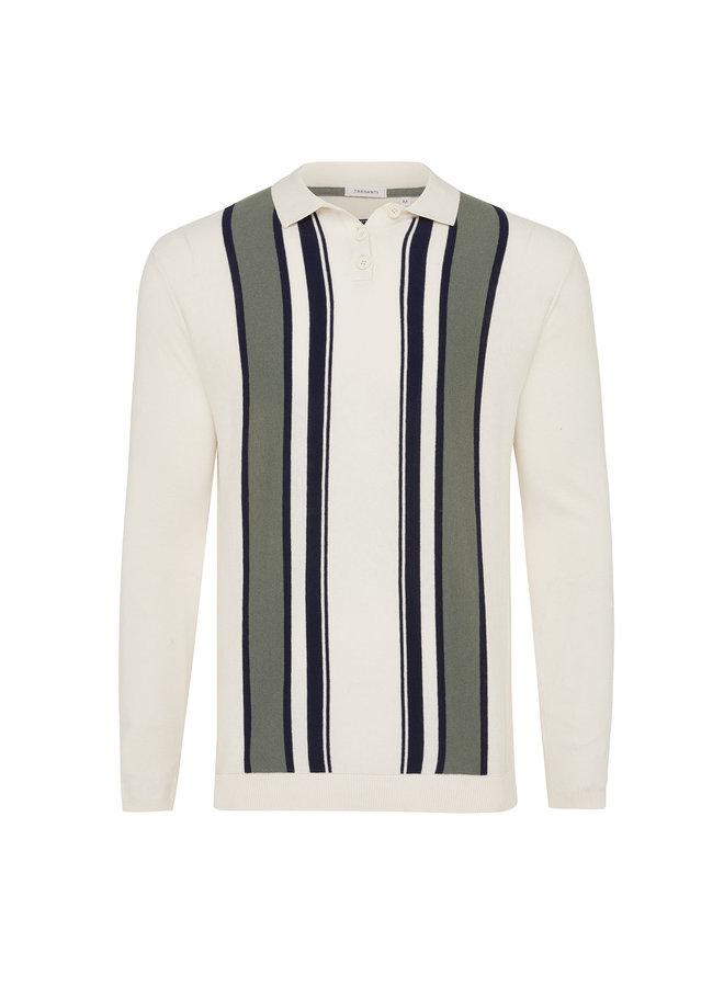 Tresanti Pullover Polo Collar Vertical Stripes Green/Blue/White