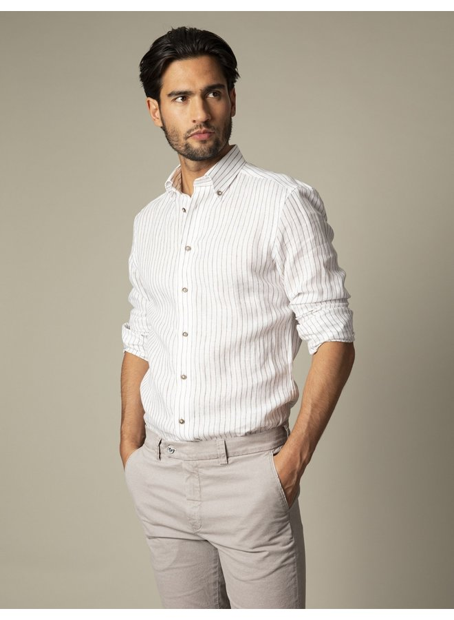 Cavallaro Overhemd Berlo Linnen  White/Brown