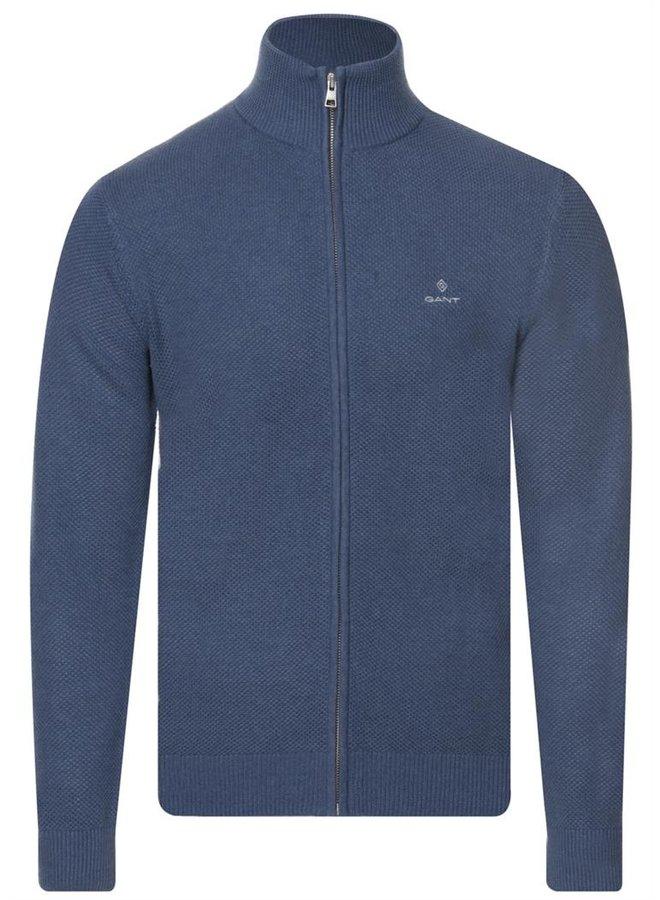 Gant Cardigan Pique Zip Denim Blue