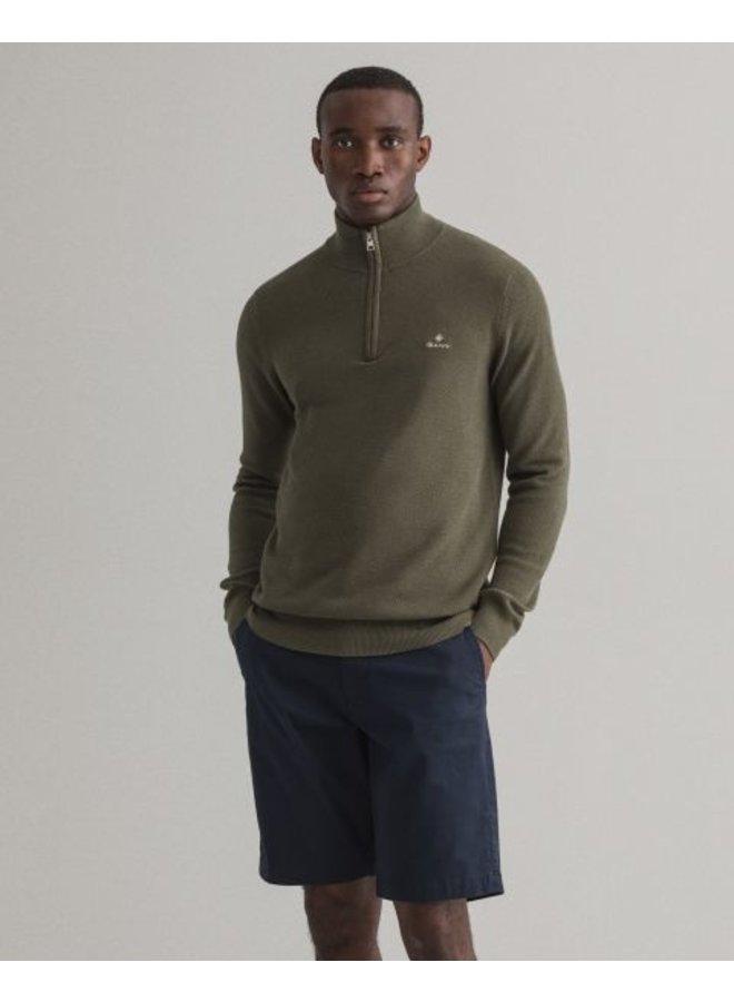Gant Pullover Pique Half Zip Dark Leaf