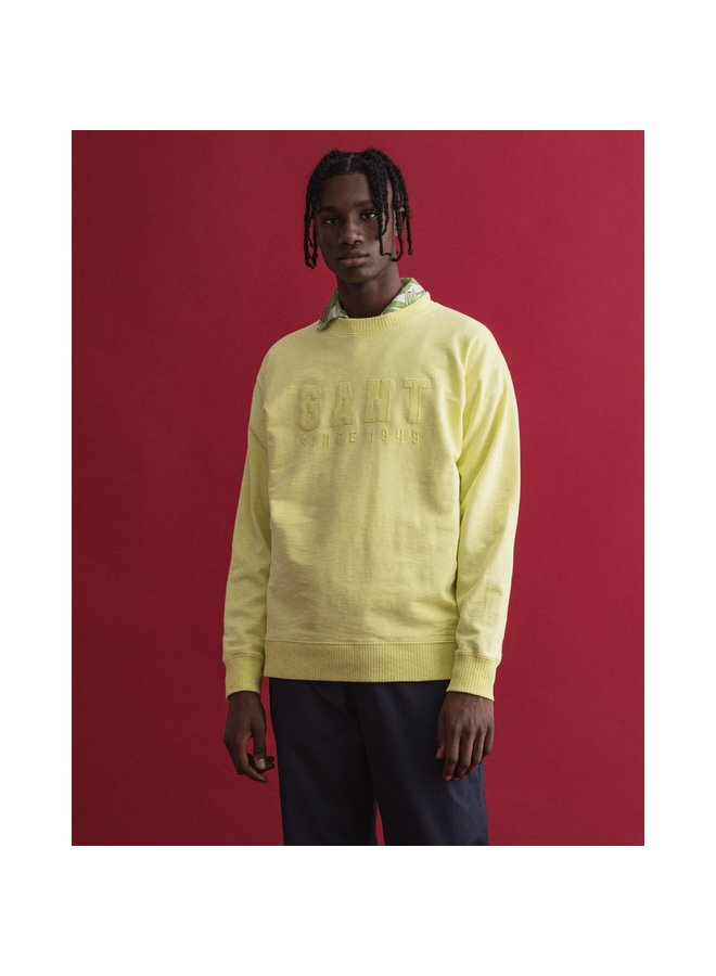 Gant Sweater Tonal Logo C-Neck Sunny Lime