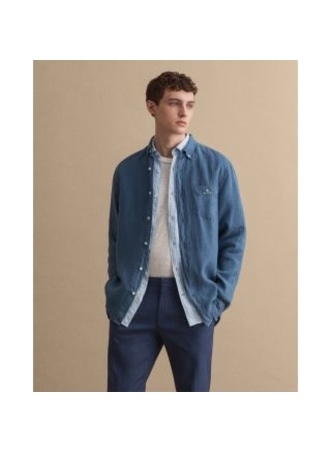 Gant Overhemd Dyed Linnen Salty Sea