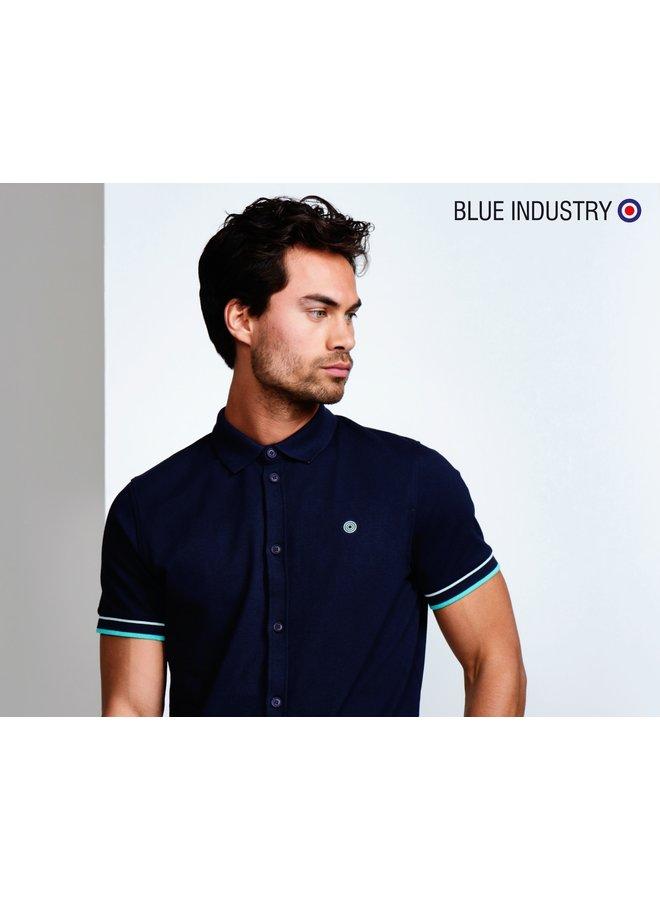 Blue Industry Polo Shirt Short Sleeve Indigo