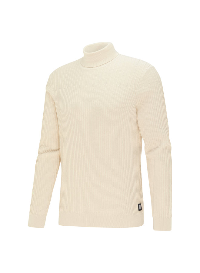 Blue Industry Pullover Rollneck Stone/White
