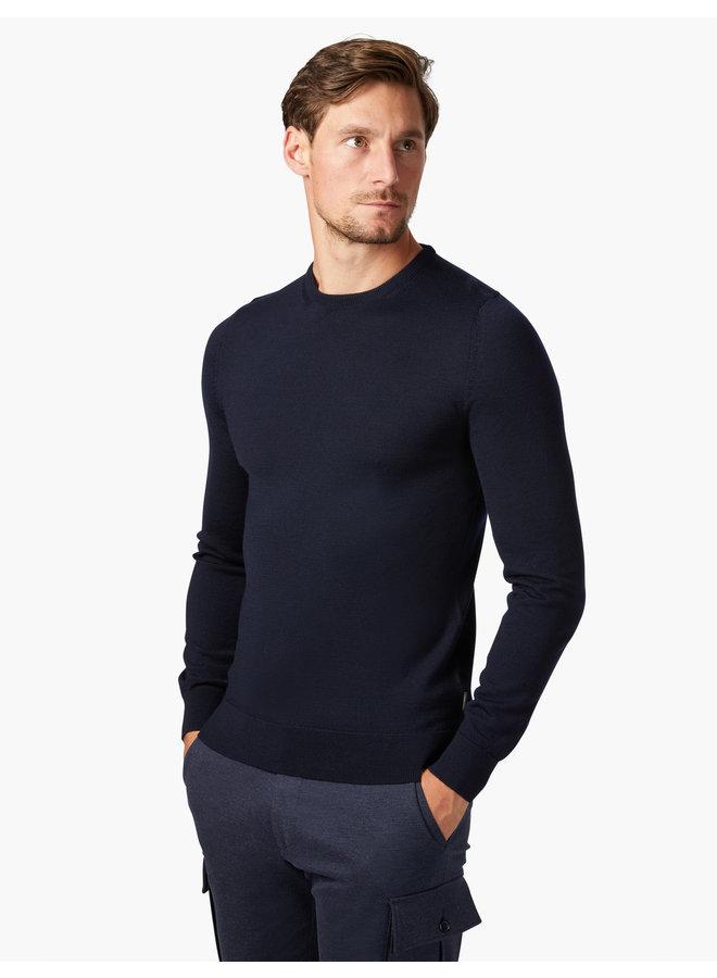Cavallaro Pullover Merino R-Neck Dark blue