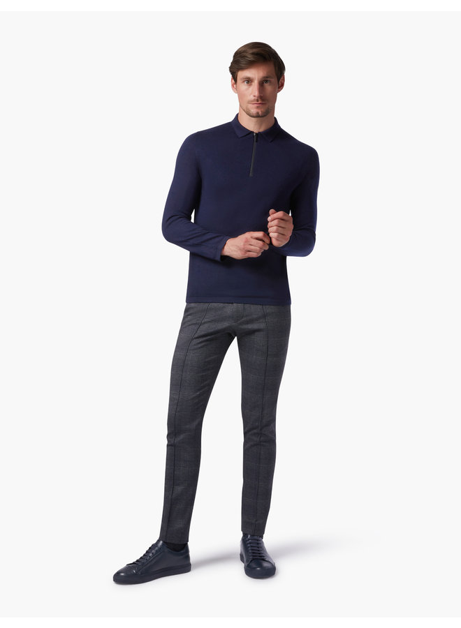 Cavallaro Pullover Merino Polo Zip Black