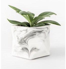 HOUSE RACCOON Palua Plantenpot – Medium – White marble d5,5cm