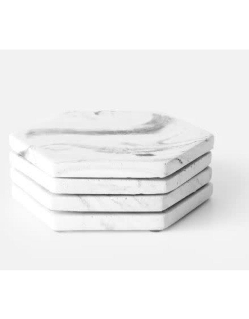 HOUSE RACCOON Dalbane Onderzetters (4x) - Wit Marmer