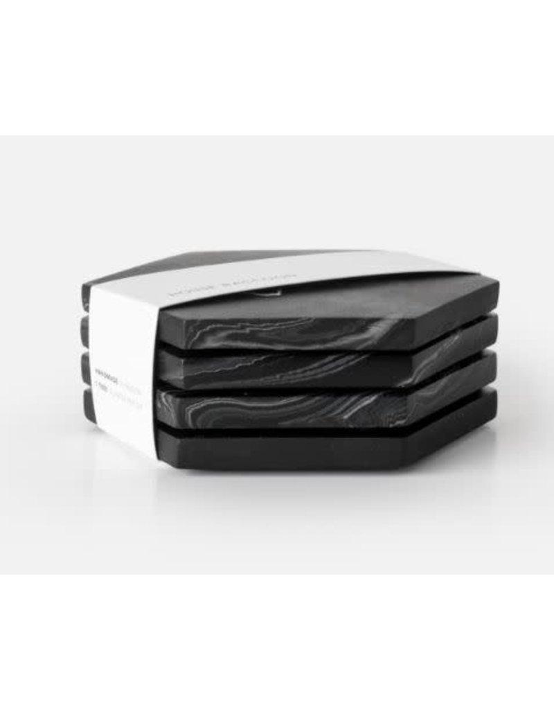 HOUSE RACCOON Dalbane Onderzetters (4x) - Zwart Marmer
