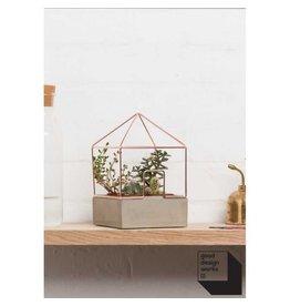 """Suck UK Plantenpot """"huis"""" koperkleurig, van beton"""