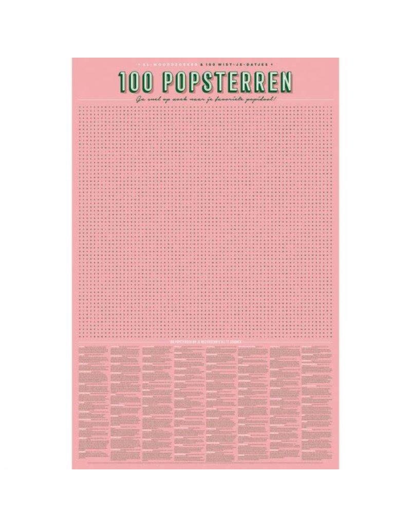 Stratier XL-woordzoeker poster '100 popsterren'