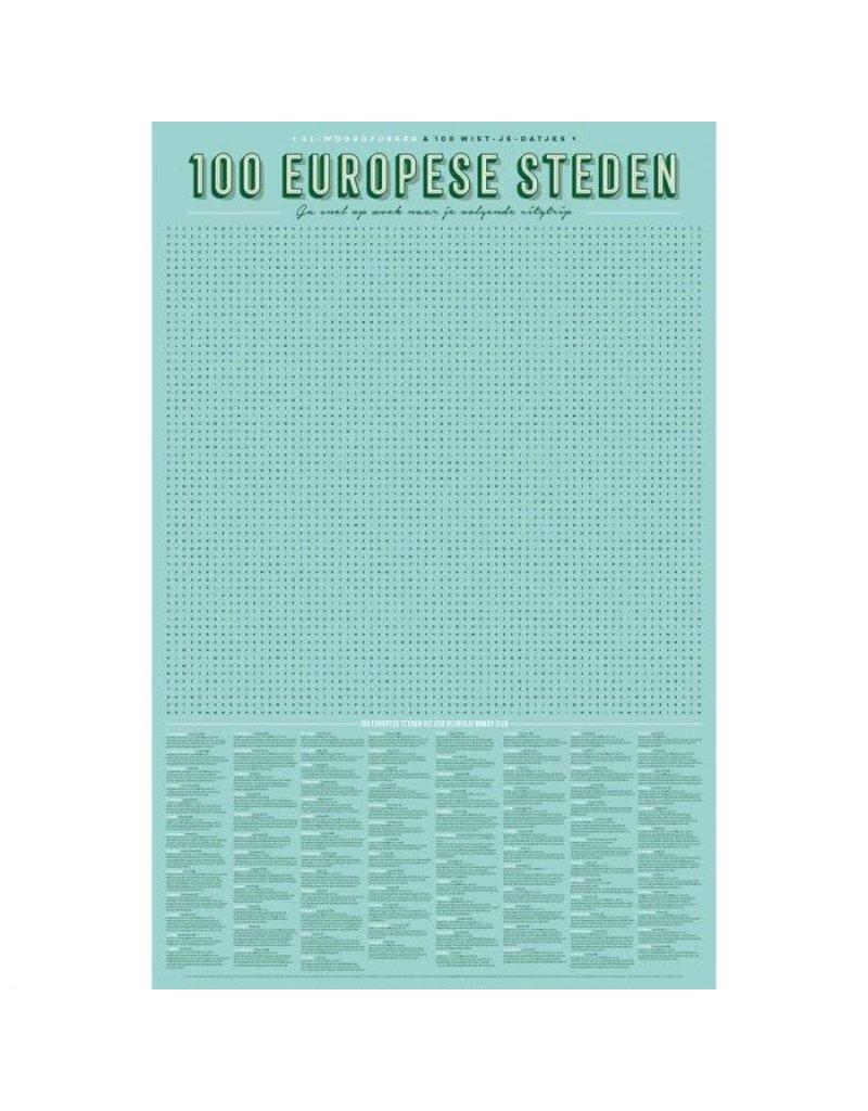 Stratier XL-woordzoeker poster '100 Europese steden'