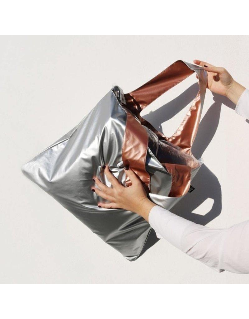 Loqi Duo Bag Metallic - zilver/roze