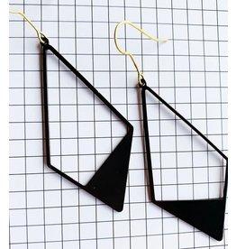 STUDIO PELOEZE Oorhangers - Black boho diamond