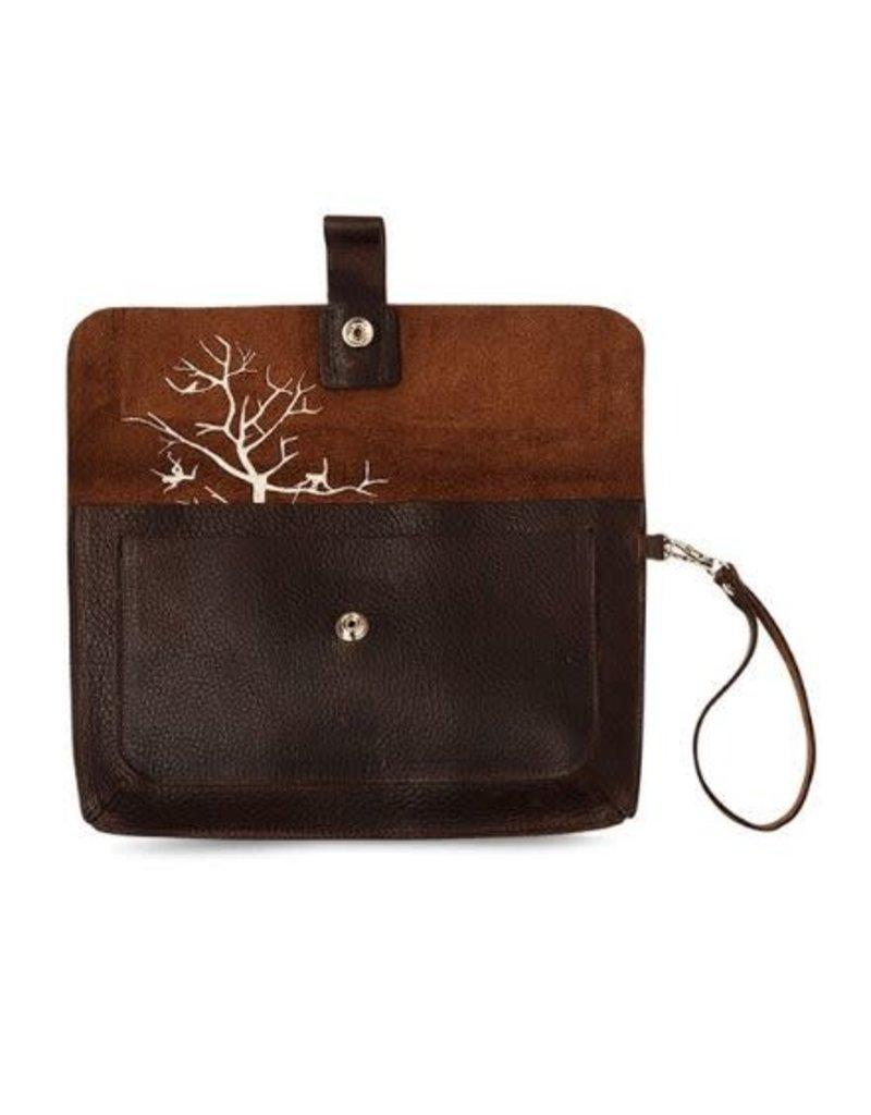 KEECIE Tas - Clutch Monkey Tree dark brown