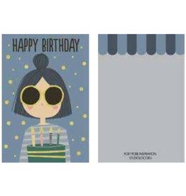 Studioloco Verjaardagskaart Juffrouwtje 6 st