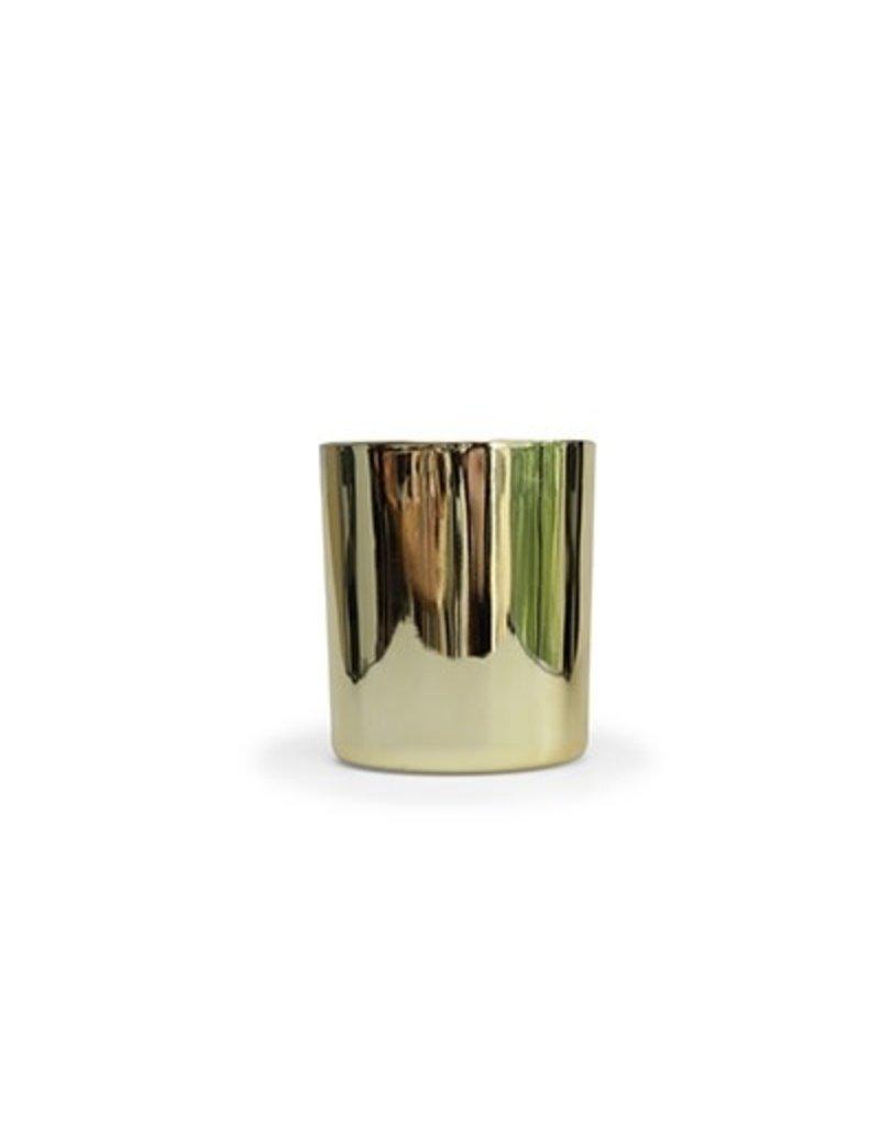 Vanhalst Kaars houten wiek gouden potje h10cm