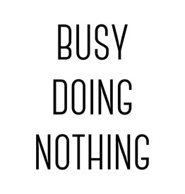 Vanhalst Sticker Busy doing nothing zwart 27x25 cm