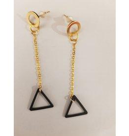 Maison Delclef Oorhanger goudkl ketting - zwarte driehoek