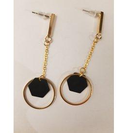 Maison Delclef Oorhanger zwarte zeshoek in goudkl ring