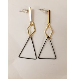 Maison Delclef Oorhanger goudkl ruit - zwarte driehoek