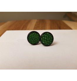 Maison Delclef Oorknopje roggeleder groen