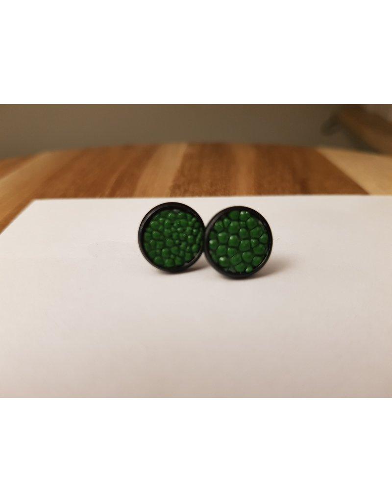 Maison Delclef Oorsteker zwart -  roggeleder groen