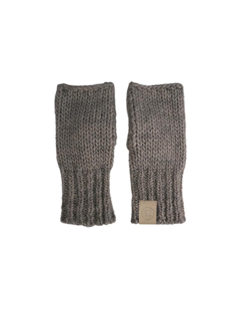 Zusss Gebreide handschoenen grijs-groen