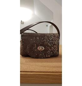 Maison Delclef 'Little cutie' Bruine tas in tuigleder met roggeprint