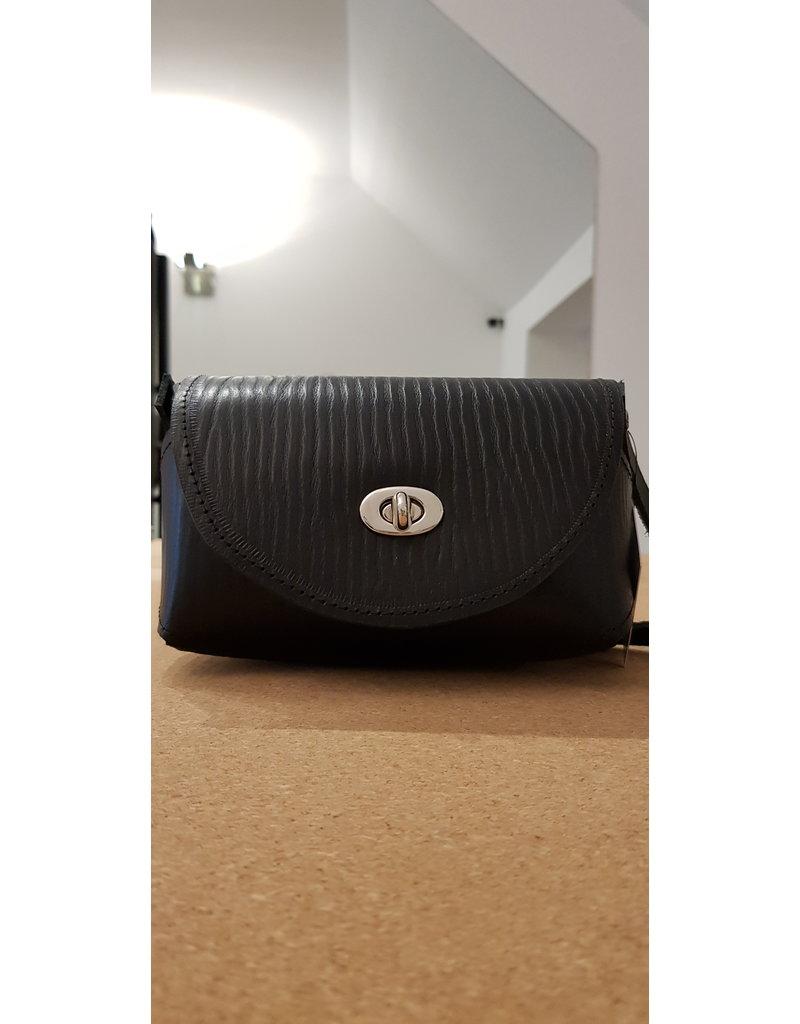 Maison Delclef 'Little cutie' zwart tasje in tuigleder met print