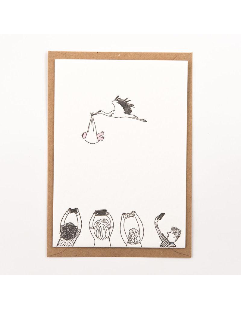 STUDIOFLASH Kaart 'Stork with baby'