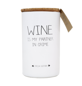 My Flame Lifestyle Geurkaars - 'Wine is my partner in crime'