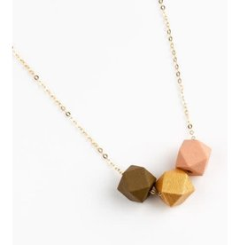 Jacqueline & Compote Ketting Mustard-Goud-Roze - messing