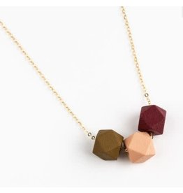 Jacqueline & Compote Ketting Mustard-Roze-Burgundy - messing