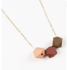 Jacqueline & Compote Ketting Roze-Terra-Mustard - messing