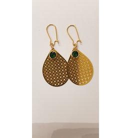 Maison Delclef Oorhanger goud geperforeerde druppel - groen steentje