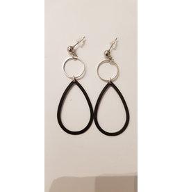 Maison Delclef Oorsteker zilver - zilver ring - zwarte druppel