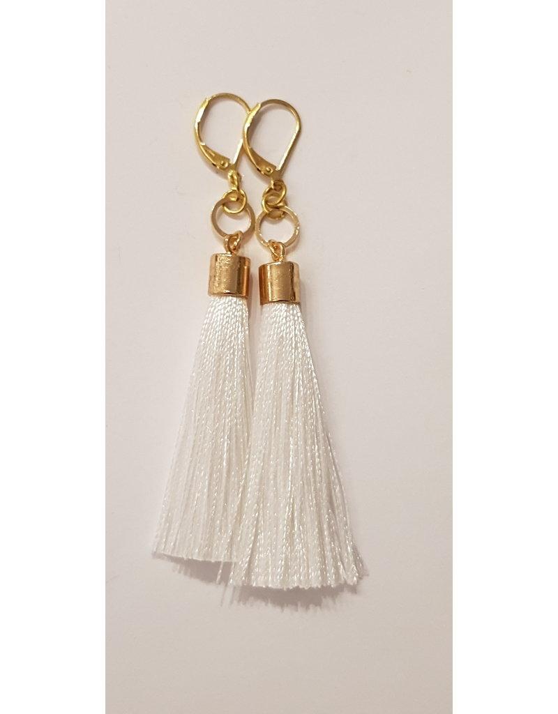 Maison Delclef Oorhanger tassel wit