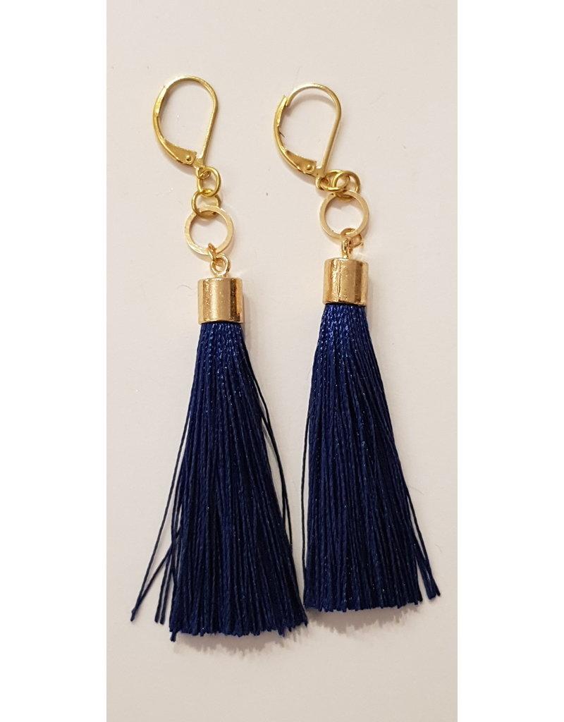 Maison Delclef Oorhanger tassel donkerblauw