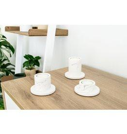 HOUSE RACCOON Portia theelichthouders - white marble (3st)