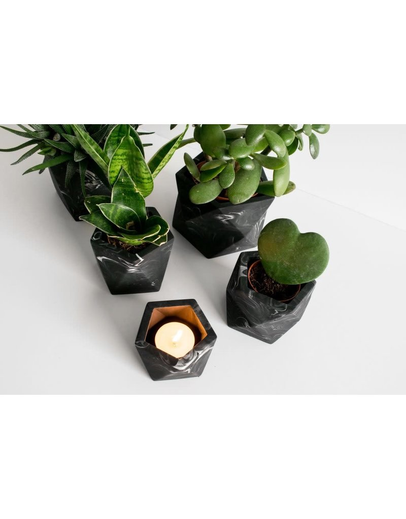 HOUSE RACCOON Vand Theelichthouder – Black marble