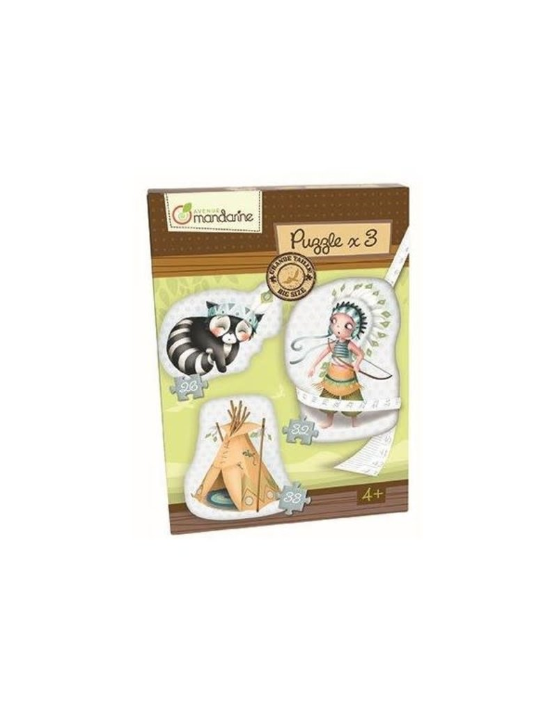 choubidous 3 Puzzels thema Indianen - vanaf 4j
