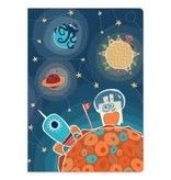 choubidous Draagtasje met tekenboek - donkerblauw - kometen