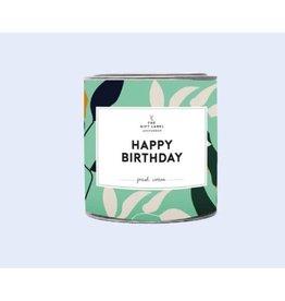 The Gift Label Kaars tin klein - happy birthday - Fresh cotton