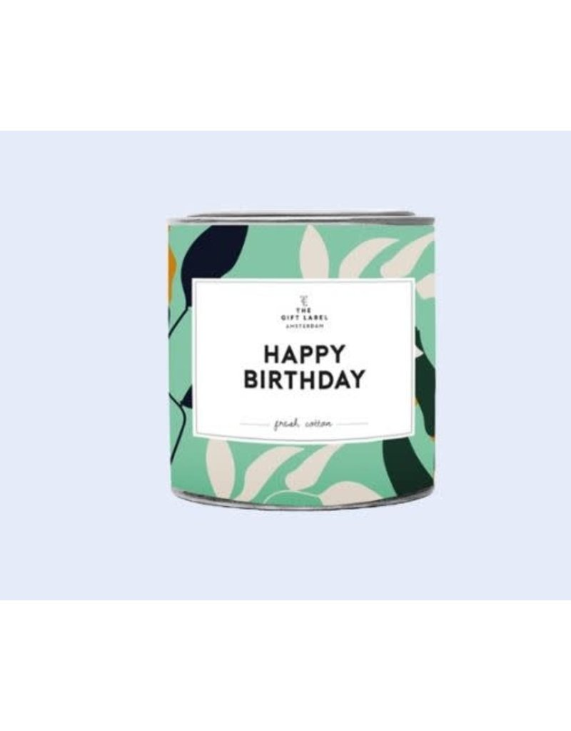 The Gift Label Kaars tin klein - Happy Birthday - Fresh cotton